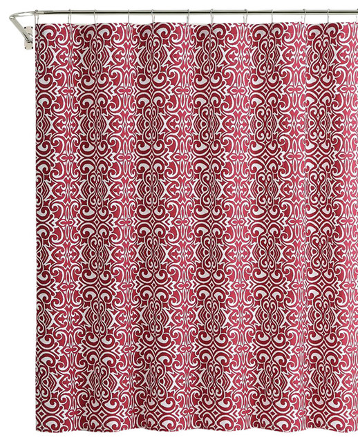 Cranberry Red White Damask Cotton Fabric Shower Curtain Contemporary Shower  Curtains