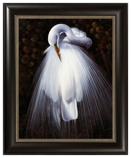 Framed Canvas Wall Art egret fan framed canvas wall art