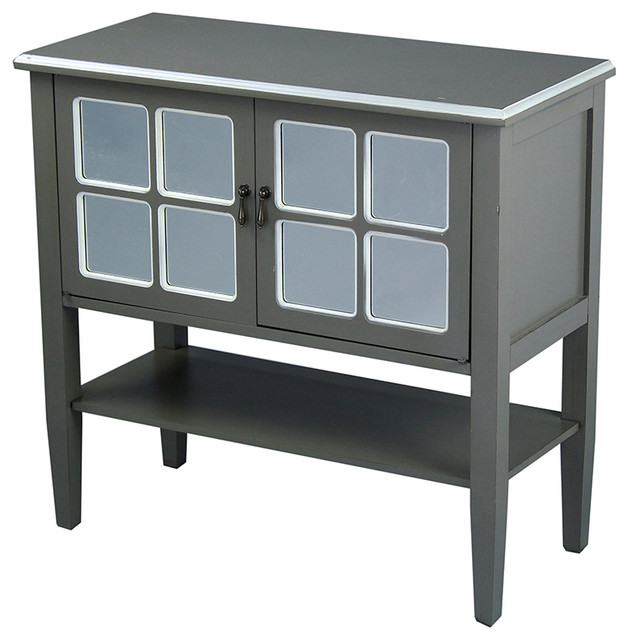 Vivian 2-Door Console Cabinet With Mirror Inserts - Beach Style ...