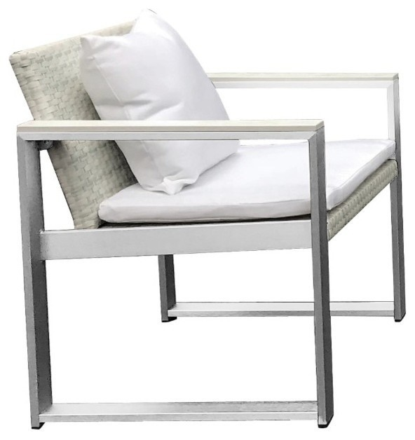 Peachy Anodized Aluminum Upholstered Cushioned Chair With Rattan White Machost Co Dining Chair Design Ideas Machostcouk