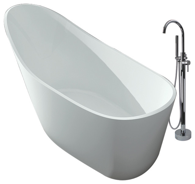 """Transolid Vermillion 67""""x30""""x35"""" Freestanding Tub And Faucet Kit, White."""