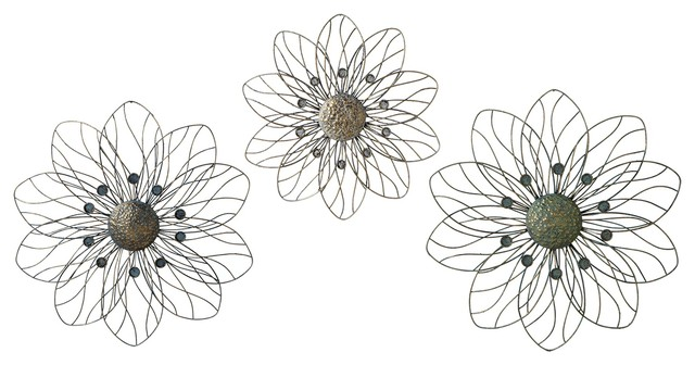 Wire Flowers Wall Decor Set Of 3 Wall Sculptures By
