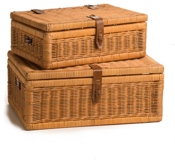 Covered Wicker Storage Basket Decorative Boxes By The