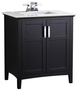 """Morris Bathroom Vanity With White Marble Top, 31"""""""