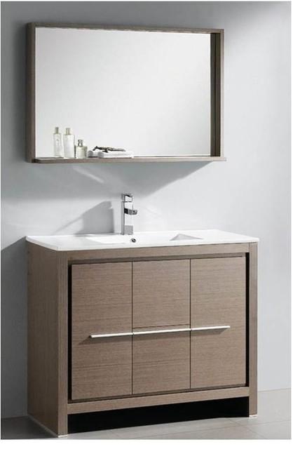 40 In. Gray Oak Modern Bathroom Vanity (savio Brushed Nickel).