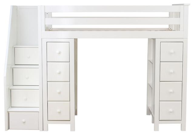 Exceptionnel Chelsea Twin Size Stairway Storage Loft Bed, White