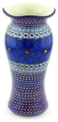 """Polish Pottery 11"""" Stoneware Vase Hand-Decorated Design"""