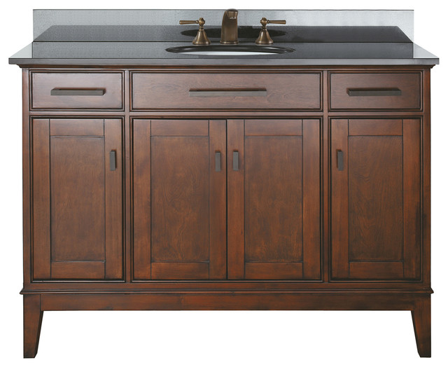 "Avanity Corp Avanity Madison 48"" Vanity With Black Granite Top and Sink, Tobacco Finish ..."