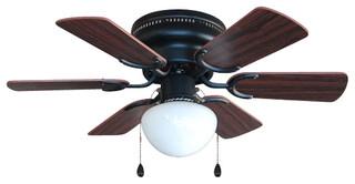 "Oil Rubbed Bronze 30"" Hugger Ceiling Fan w Light Kit"
