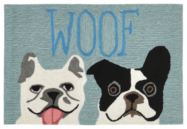"Liora Manne Frontporch Le Woof Indoor/outdoor Rug, Blue, 20""x30""."