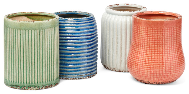 Ceramic Utensil Holders With Pattern Assortment Of 4 Multicolor.
