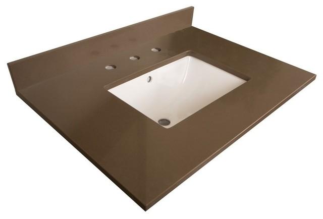 """Bellaterra 30"""" Gray Quartz Counter Top, Rectangular Sink"""