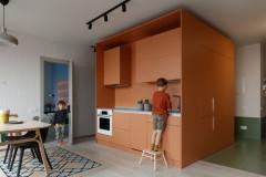 Houzz тур Квартира с карамельным кубом и бетонной панелью ПО-2 (13 photos)