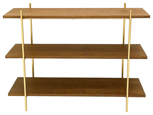 Midcentury Style Walnut And Gold Low Shelf.