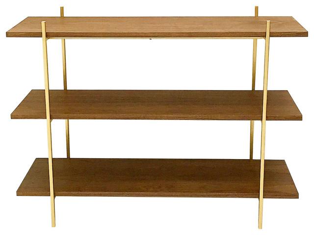 Midcentury Style midcentury style walnut and gold low shelf - midcentury