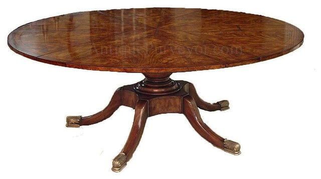 Round Mahogany Dining Table With Self Storing Leaves Pedestal Traditional Tables
