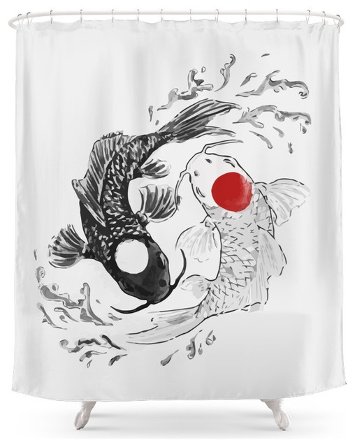 society6 koi fish ying yang shower curtain - asian - shower