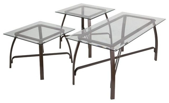 Flash furniture 3 piece glass top coffee table set bronze transitional coffee table sets One piece glass coffee table