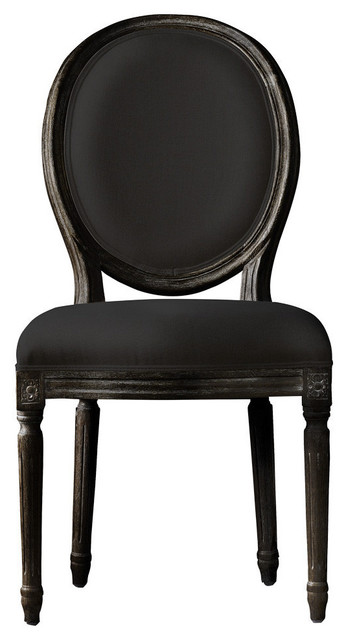 French Vintage Louis Antique Black Side Chair