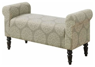"""Bench, 44""""L, Traditional Style Taupe Snowflake Fabric"""