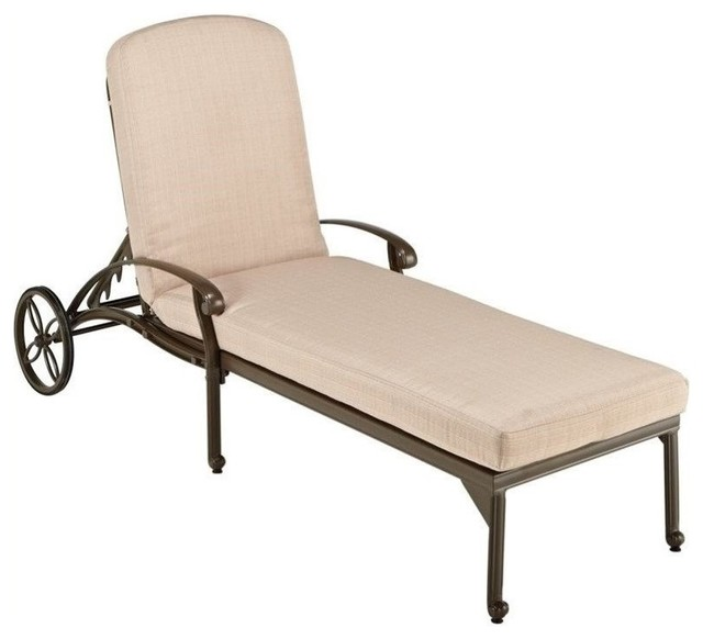 Hawthorne Collections Patio Chaise Lounge With Taupe Cushions.