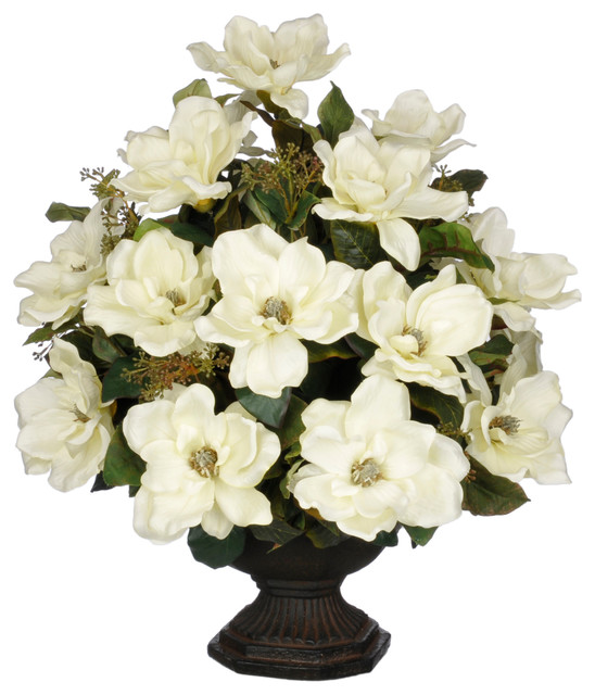 Artificial cream magnolia with bay leaves in brown garden urn artificial cream magnolia with bay leaves in brown garden urn traditional artificial flowers mightylinksfo Choice Image