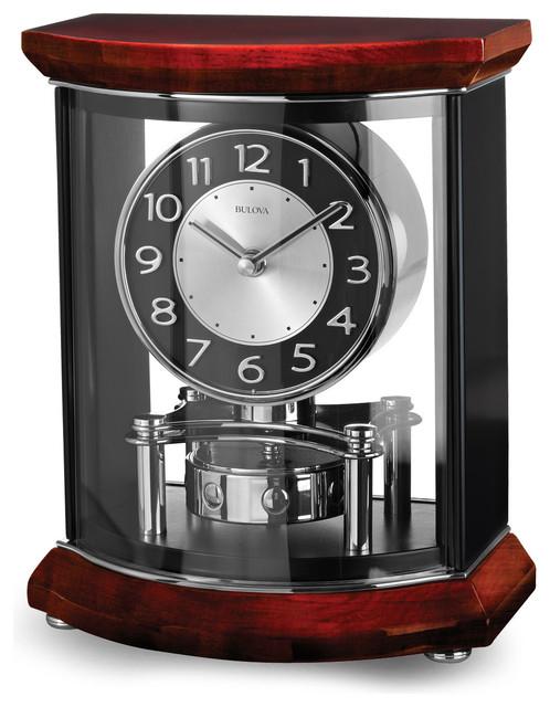 Bulova Gentry Pendulum Mantel Clock Mahogany Finish Rotating Transitional Desk And Clocks By Princeton Watches