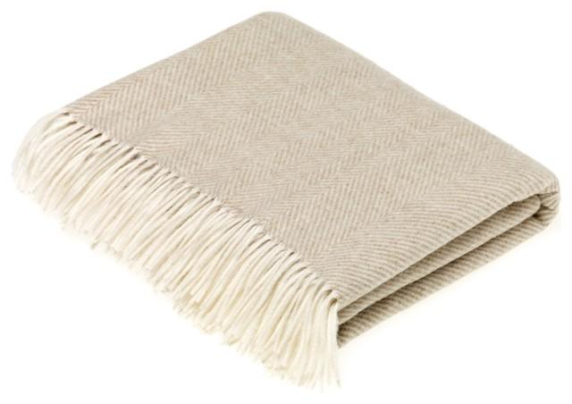 Merino Lambswool Herringbone Beige Throw Blanket.