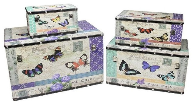 wooden garden style butterfly decorative storage boxes set of 4 14 27 - Decorative Storage Boxes