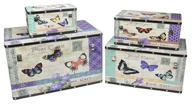 Wooden Garden Style Erfly Decorative Storage Bo Set Of 4 14 27