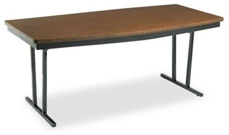 Economy Conference Folding Table Boat 72 X36 X30 Walnut Black