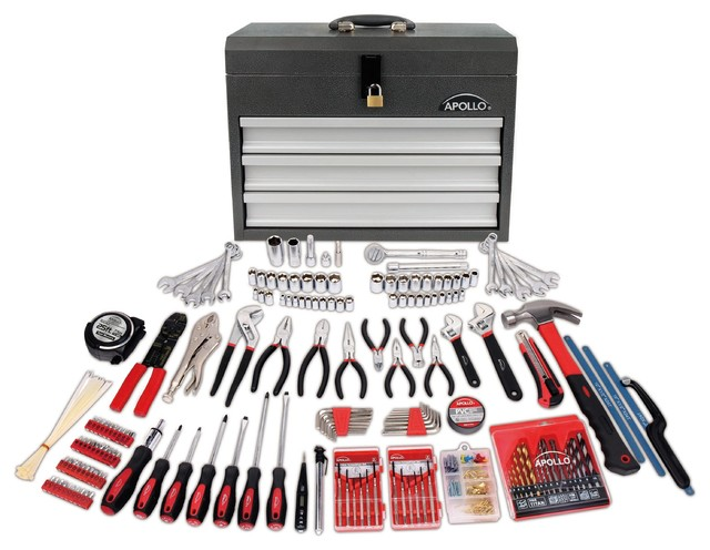 Apollo Tools 300 Piece All Purpose Mechanics Tool Kit In 3 Drawer Steel Box.