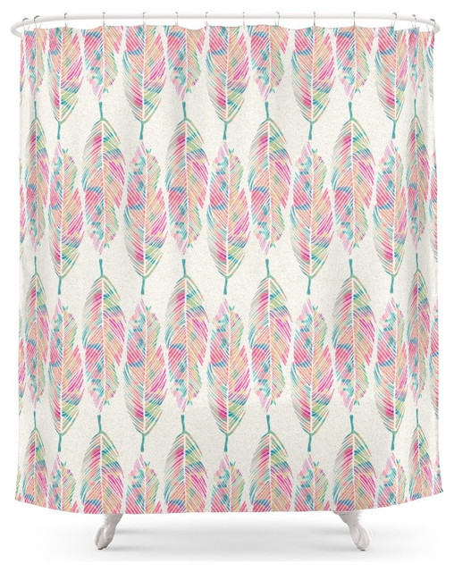 Society6 Tribal Feathers Girly Pink Teal Watercolor Pattern Shower Curtain