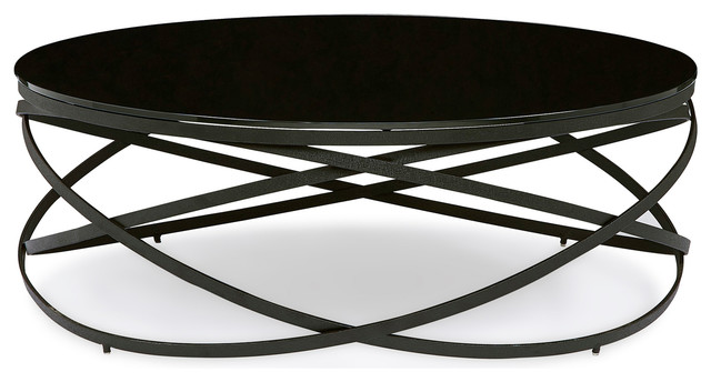 Modern Zinta Round Coffee Table With Black Tempered Glass