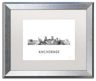 anchorage alaska skyline wb bw 39 matted framed art contemporary