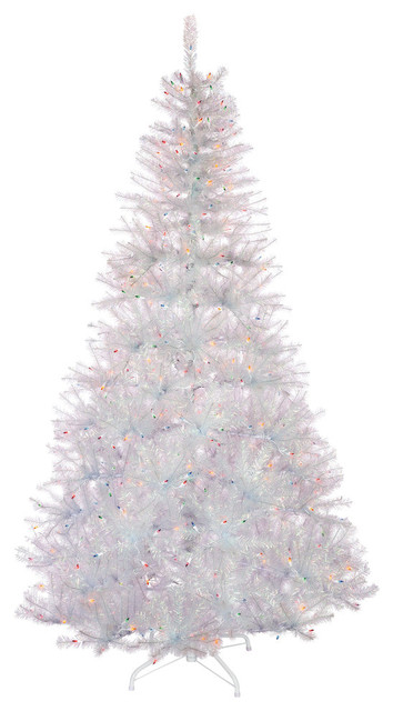 7.5' High Pre-Lit White Iridescent Fir Tree With Mult-Color Lights