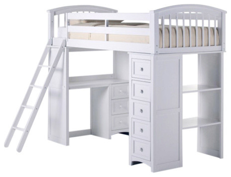 Asher Twin Size Student Loft Bed White Only