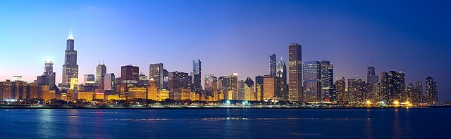 Lovely Chicago Sunset Panorama Wall Mural, Self Adhesive Wallpaper Contemporary  Wall Decals Part 9