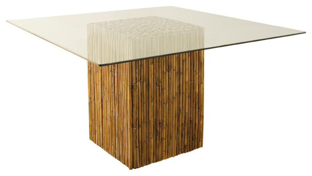 Bamboo stick dining table base with glass asian dining for Oriental dining table