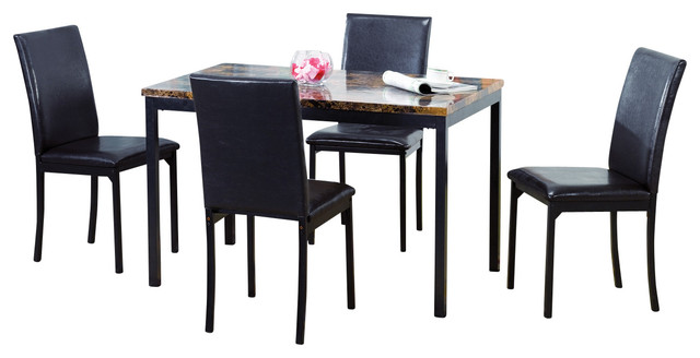 Carlton Dark Brown 5 Piece Dining Set, Faux Marble Table Top.