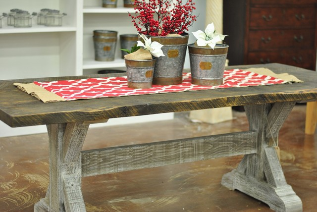 """Baytown"" Trestle 84"" Reclaimed Wood Dining Table Farmhouse"
