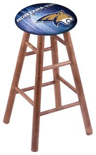 "Montana State Bobcats Swivel Bar Stool With Medium Brown Maple Base, 18"" Vanity"