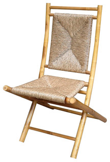 Napili Bamboo Folding Chairs With Seagrass Triangle Weave, Set of 2, W27031-NAT