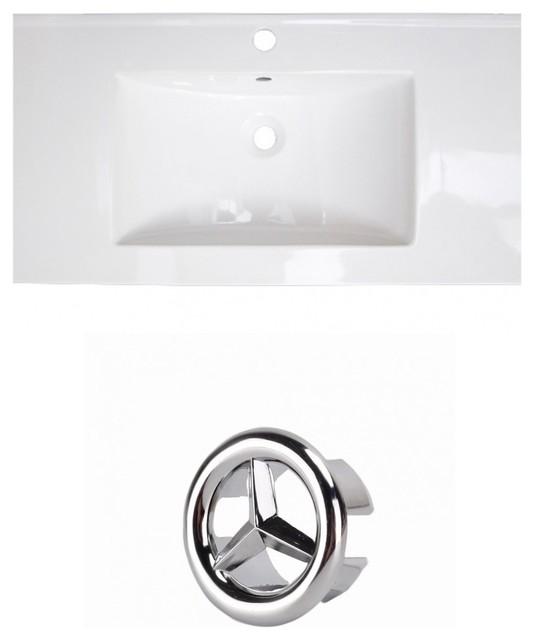 """36.75"""" 1-Hole Ceramic Top Set, White Color, Chrome."""