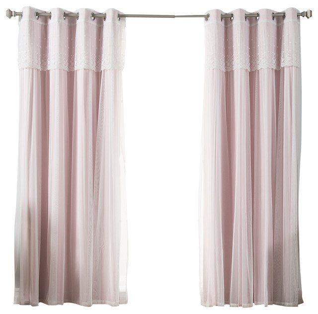 Best Home Fashion Tulle Sheer With Attached Valance Solid Blackout Curtain Reviews Houzz