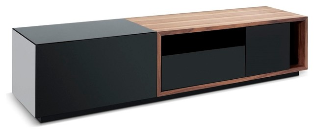 Tv047 Modern Tv Stand In Black High Gloss And Walnut Finish