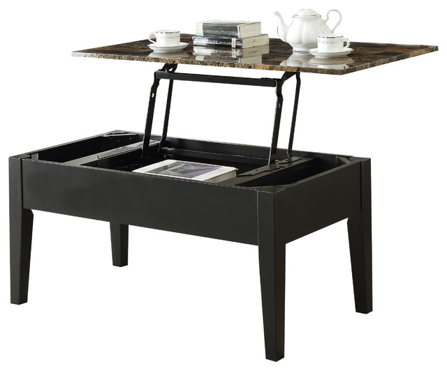 Stupendous Acme Celestial Faux Marble Lift Top Coffee Table Black Ncnpc Chair Design For Home Ncnpcorg