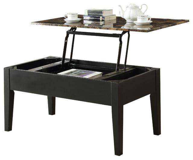 Lift Top Coffee Table Black.Acme Celestial Faux Marble Lift Top Coffee Table Black