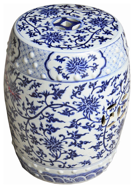 Blue u0026 White Twisted Lotus Garden Stool asian-accent-and-garden-stools  sc 1 st  Houzz & Blue u0026 White Twisted Lotus Garden Stool - Asian - Accent And ... islam-shia.org