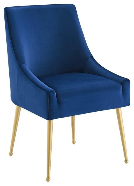Discern Upholstered Performance Velvet Dining Chair, Navy